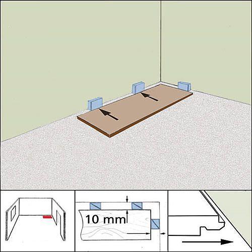 Для предотвращения деформации при температурном расширении ламинат следует укладывать с зазором у стены
